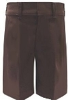 Boys Flat Front Adjustable Waist Brown School Shorts