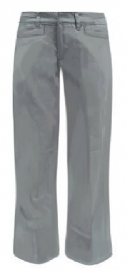 Girls Grey School Uniform Pants Low Rise Flare Leg